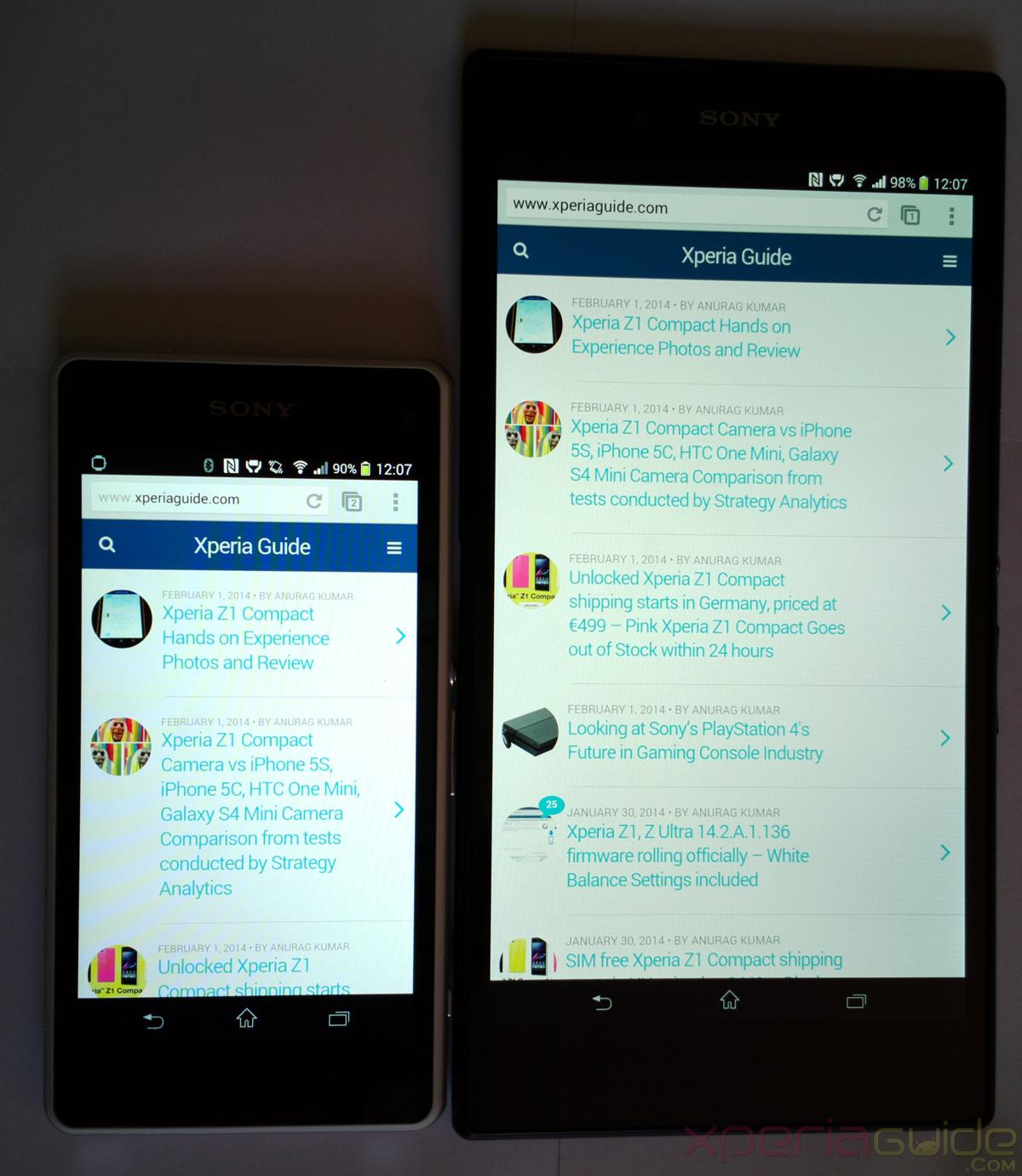 Xperia Z1 Compact vs Xperia Z Ultra Size and Screen ...  Xperia Z1 Compa...