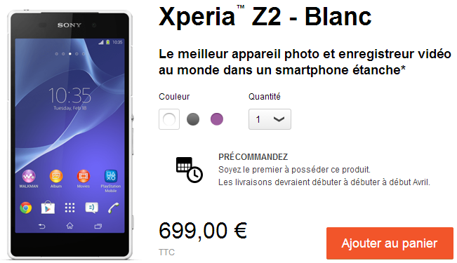 Xperia Z2 Price in France Spain Italy €699