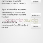 Contact Settings of Xperia SP 12.1.A.0.266