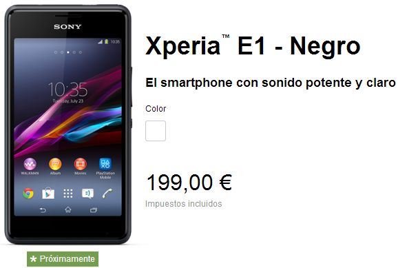 Xperia E1 Price in Spain
