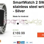 Sony SmartWatch 2 with Silver steel wristband priced at £169 in UK, €199 in France, Germany, Italy