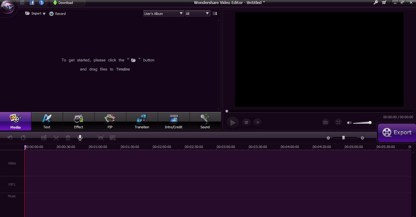 Wondershare Video Editing area