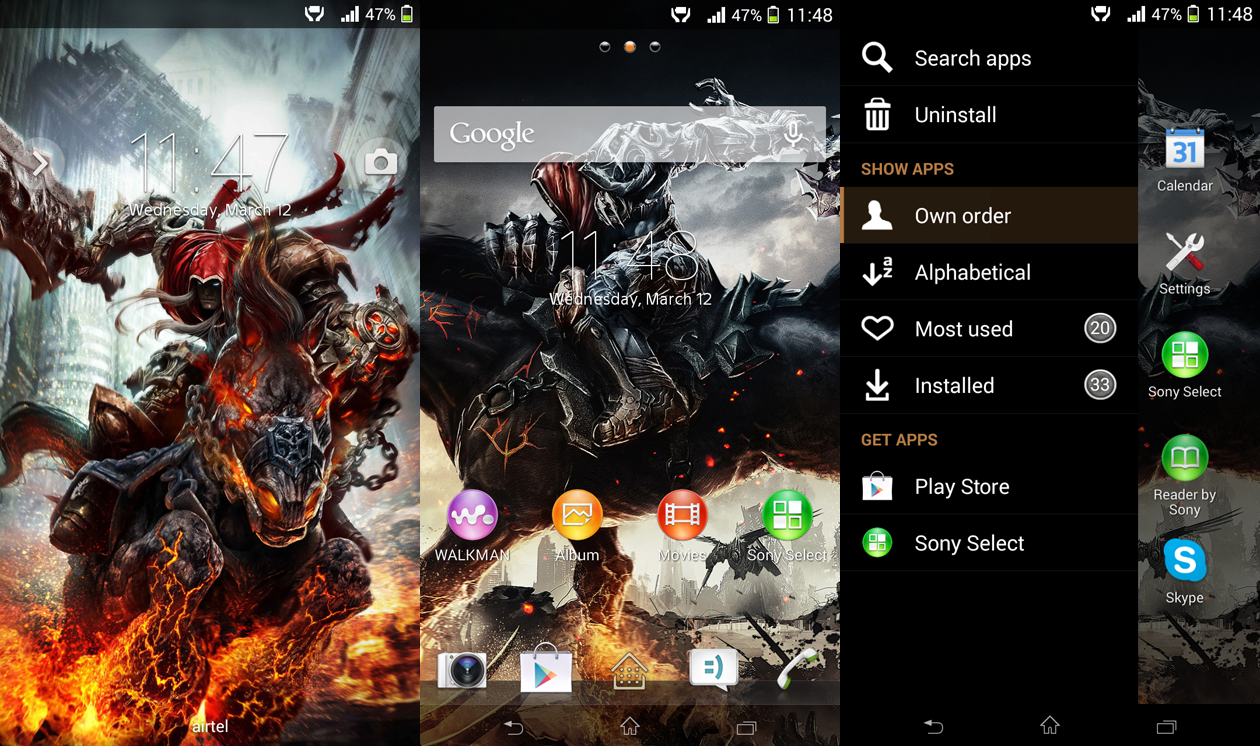 Xperia Darksiders custom theme