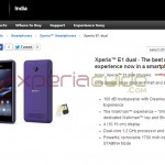 Xperia E1 Dual listed on Sony India site – Coming soon on 10 March for 10490 INR