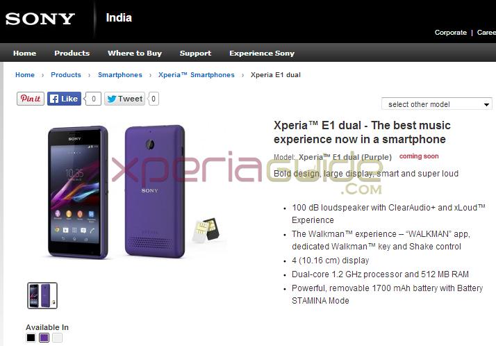 Xperia E1 Dual India Price Rs 10490