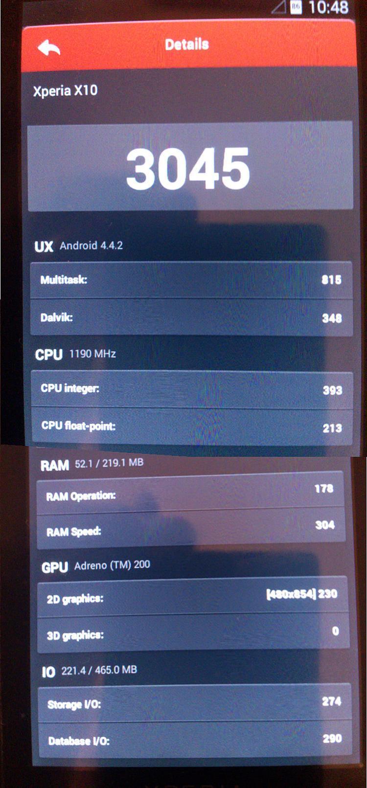 Xperia X10 KitKat 4.4.2 AnTuTu Benchmark