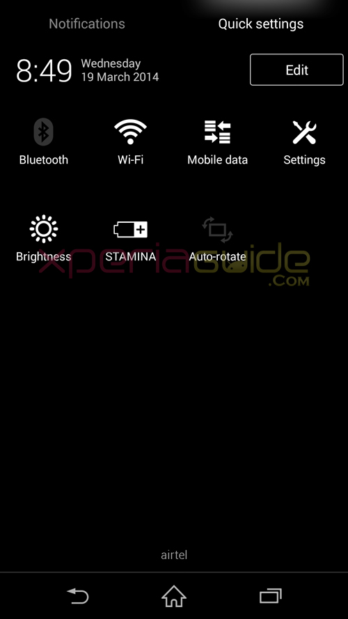 Xperia Z1 14.3.A.0.681 Quick Settings Option