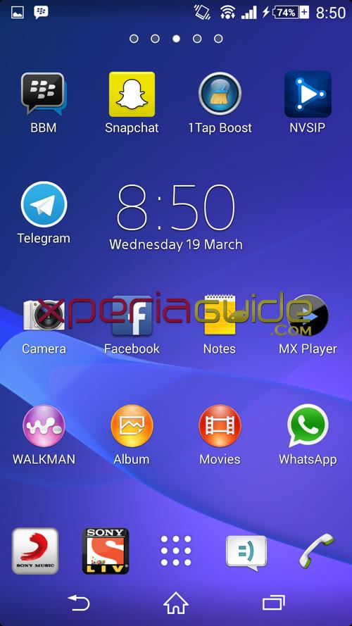 Xperia Z1 14.3.A.0.681 firmware Home Screen