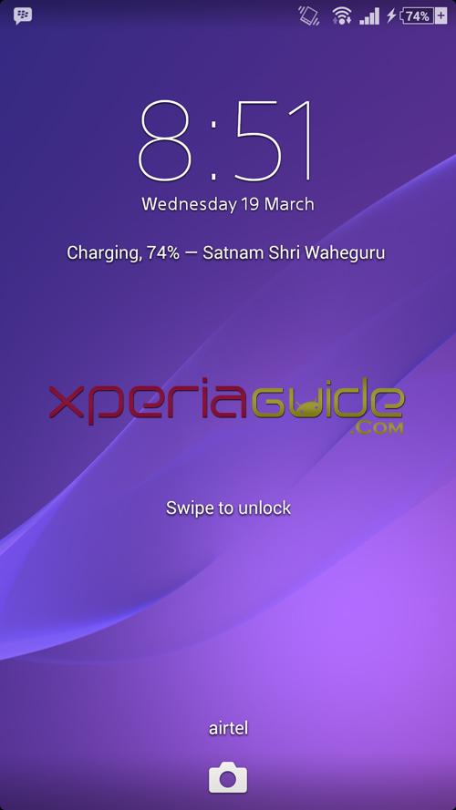 Xperia Z1 14.3.A.0.681 firmware Lock Screen