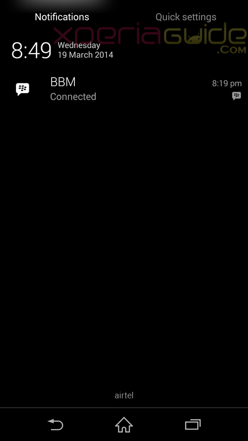 Xperia Z1 14.3.A.0.681 firmware Notification Panel