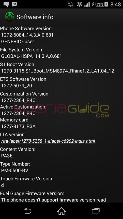 Xperia Z1 14.3.A.0.681 firmware Software info