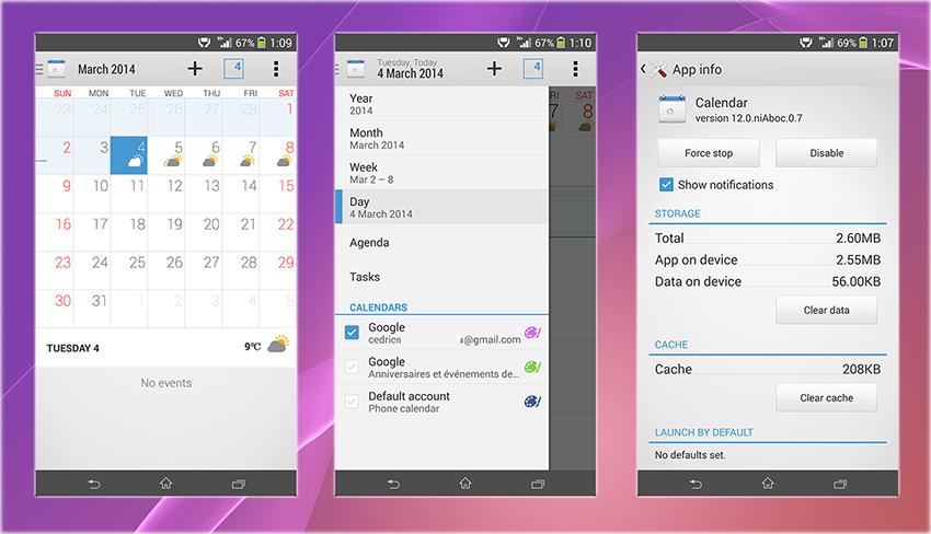 Xperia Z2 Calendar App apk
