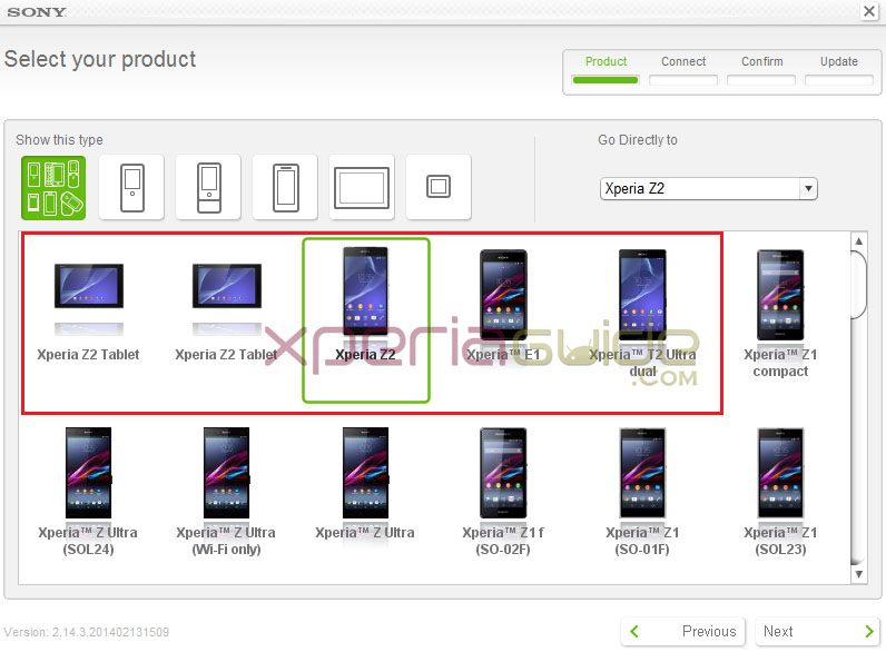 Xperia Z2 Sony Update Service