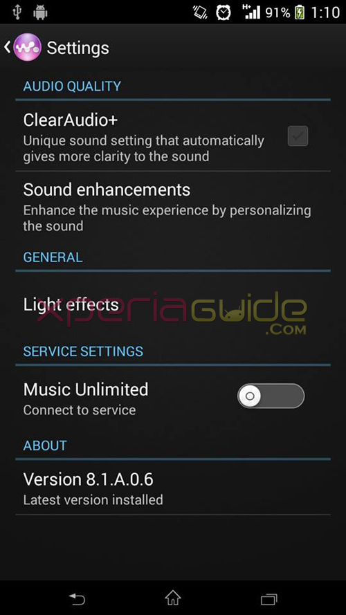 Xperia Z2 Walkman 8.1.A.0.4 app