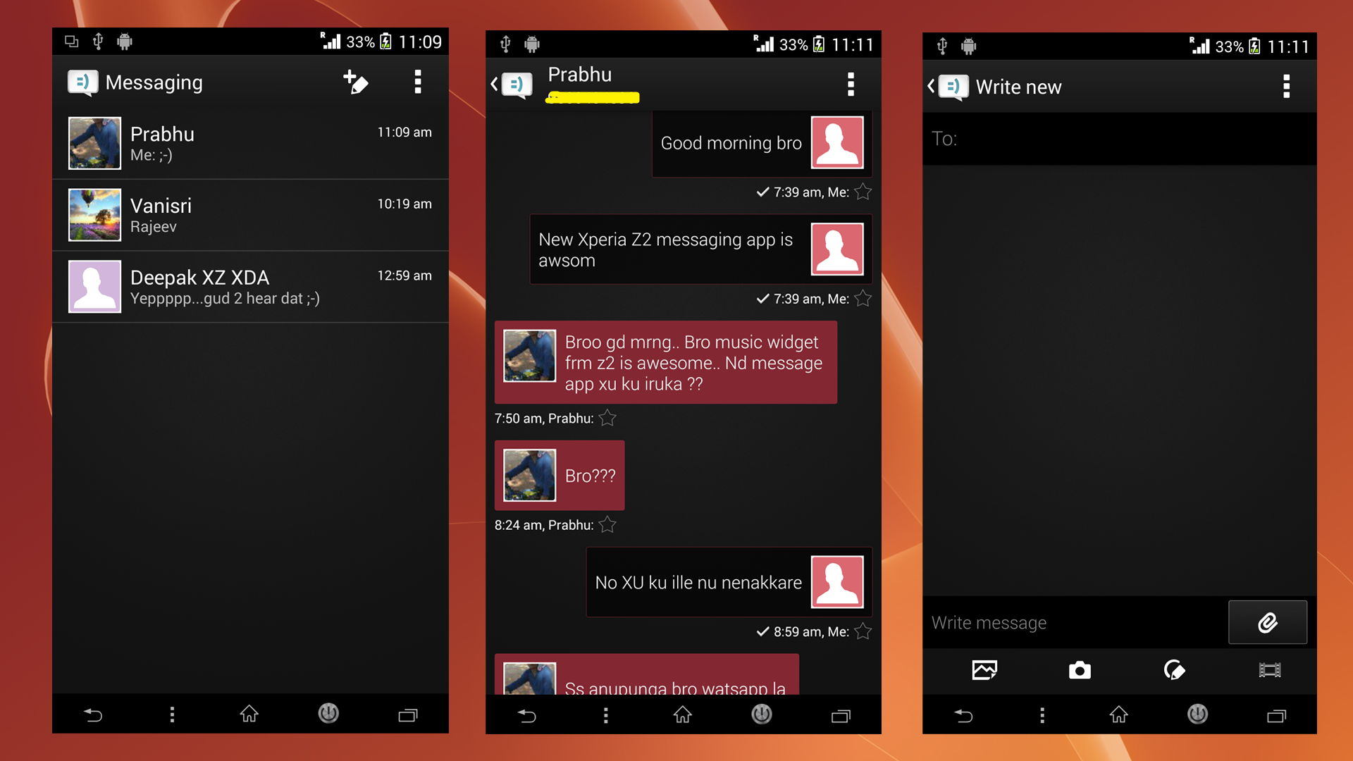 Xperia Z2 black themed Message app