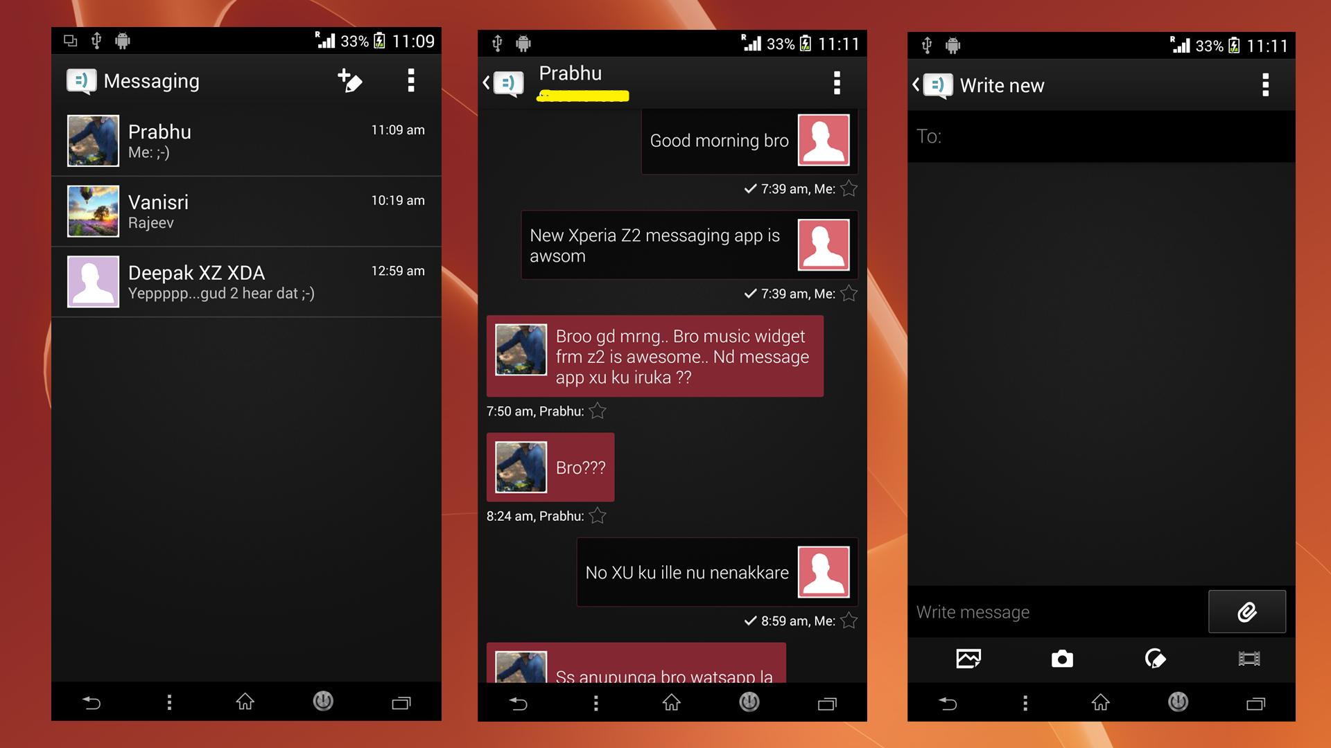 install xperia z2 black themed message kitkat app port