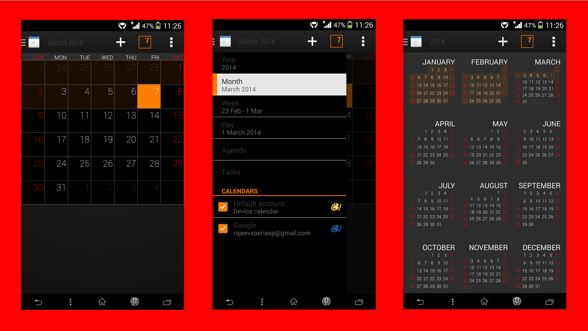 Xperia Z2 Black Theme Calendar app