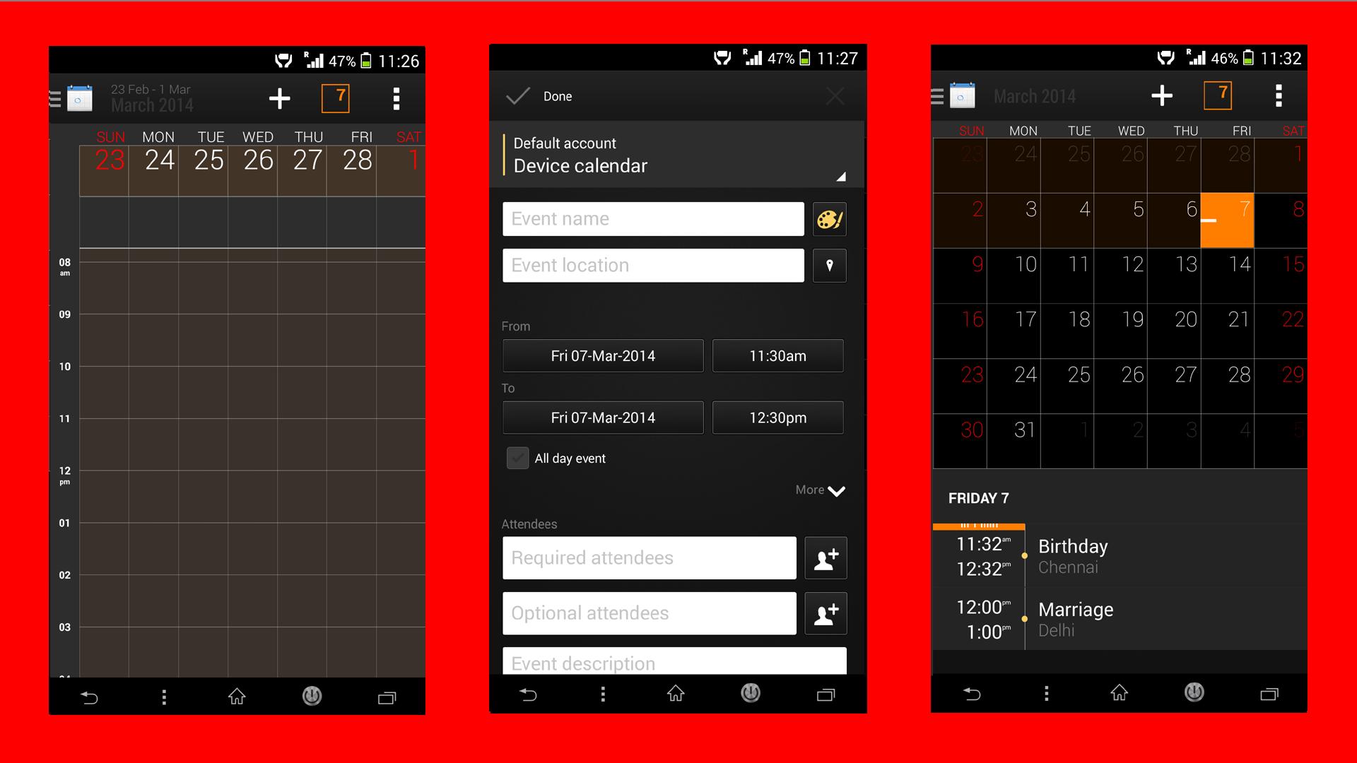Xperia Z2 Black Calendar App