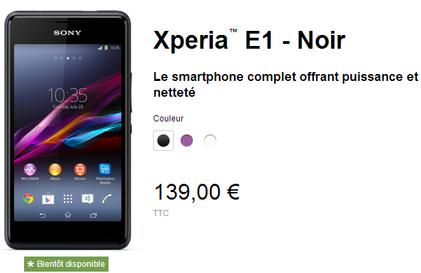 Xperia E1 Price in France