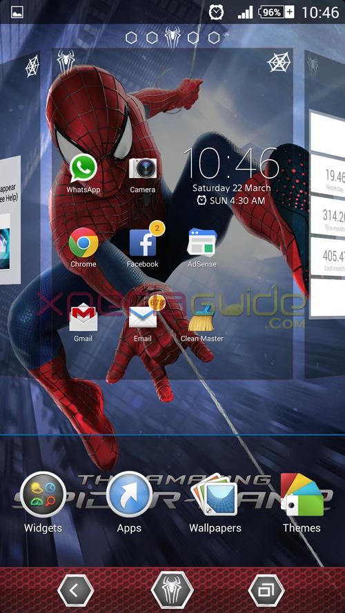 Xperia Amazing Spider Man 2 Theme home panes