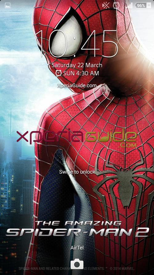 Xperia Amazing Spider Man Theme Lockscreen