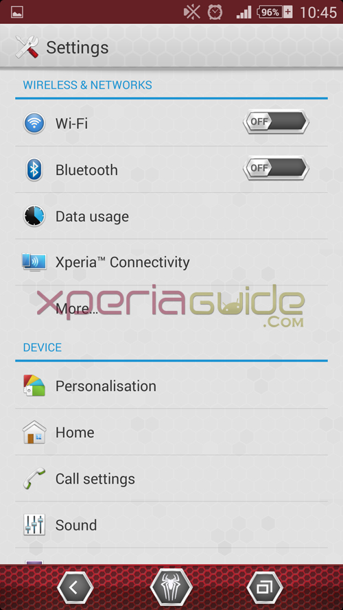 Xperia Amazing Spider Man Settings