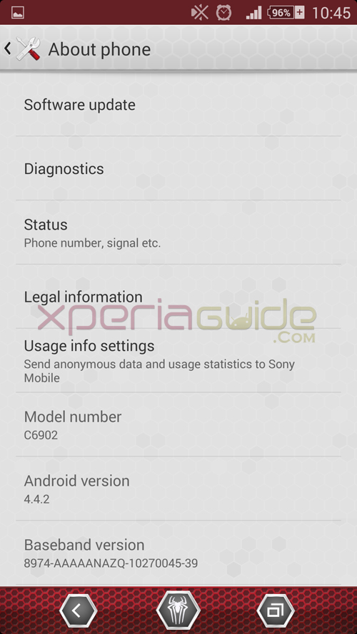 Xperia Amazing Spider Man theme KitKat