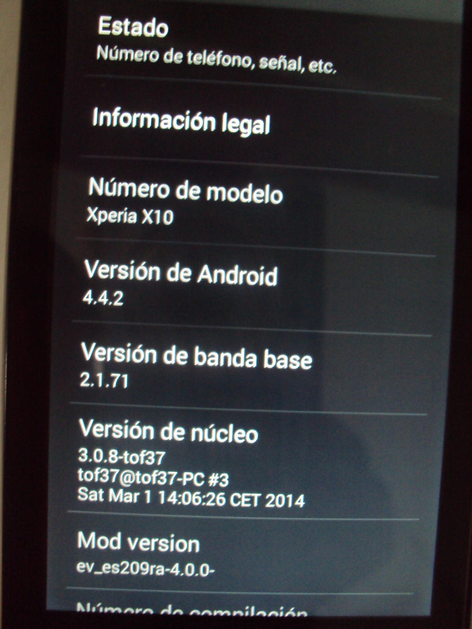 Xperia X10 KitKat 4.4.2 Kernel Details