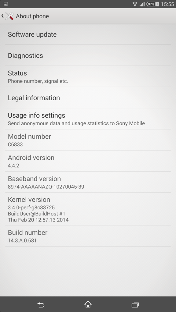 Xperia Z Ultra 14.3.A.0.681 About Phone