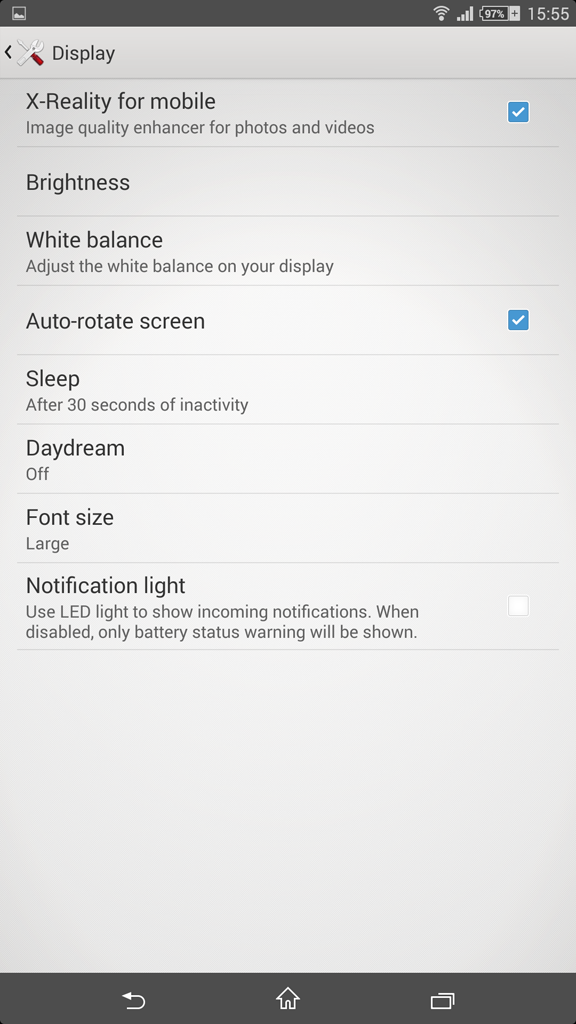 Xperia Z Ultra 14.3.A.0.681 Display settings