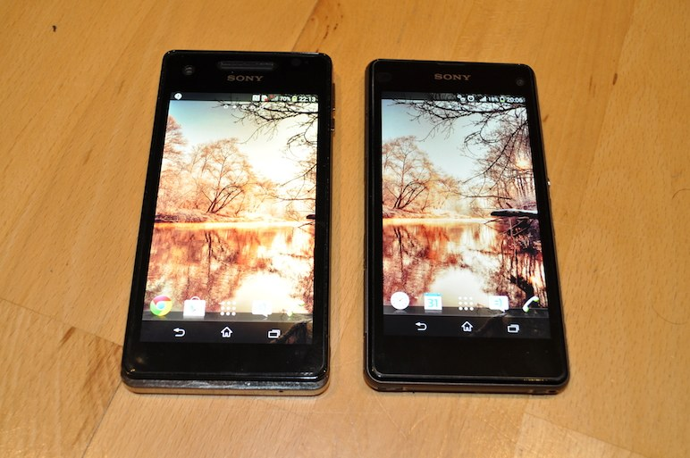 Xperia V vs Xperia Z1 Compact Display