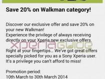 Redeem 20% Discount Voucher on Walkman products