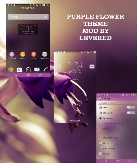 Xperia Purple Flower Theme