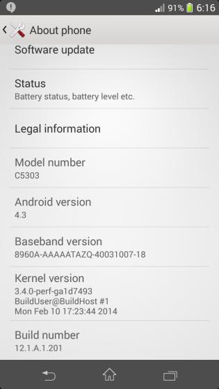 Xperia SP 12.1.A.1.201 firmware update