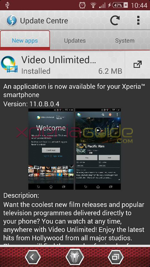 Xperia Video Unlimited 11.0.B.0.4 app