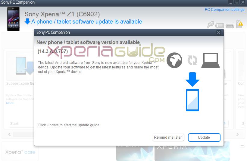 Xperia Z1 14.3.A.0.757 firmware update