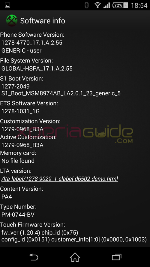 Xperia Z2 17.1.A.2.55 firmware software info