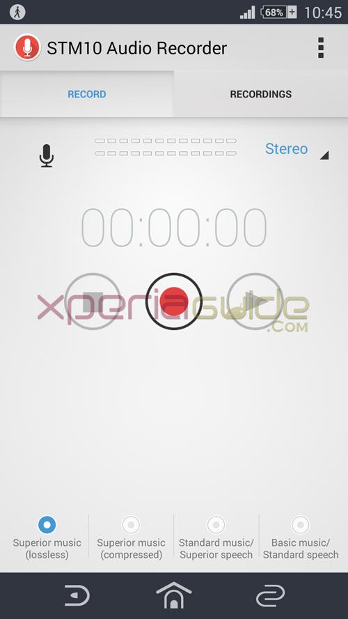 Xperia Z2 STM10 Audio Recorder app