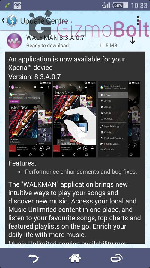 Walkman 8.3.A.0.7 app update