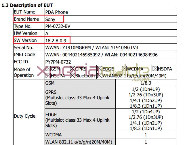 Xperia FCC ID PY7PM-0732-BV smartphone
