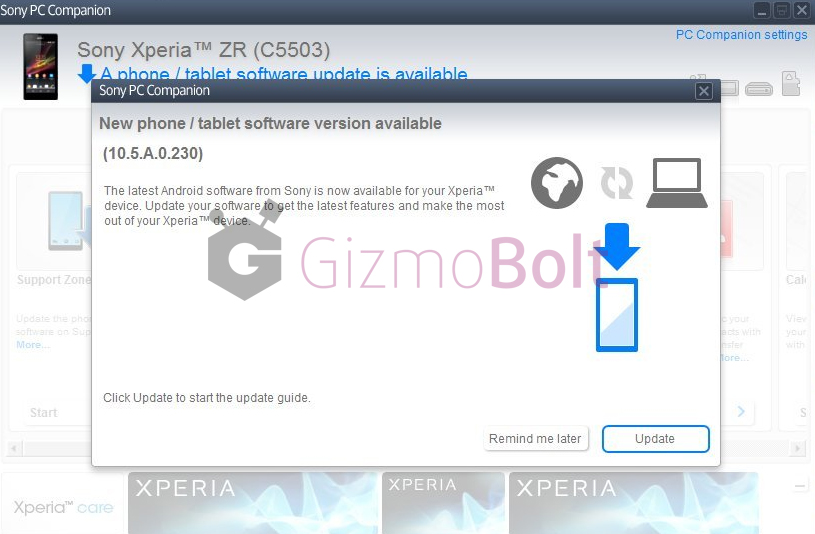 Xperia ZR 10.5.A.0.230 firmware