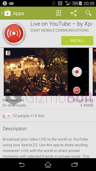 Download Live on YouTube – by Xperia