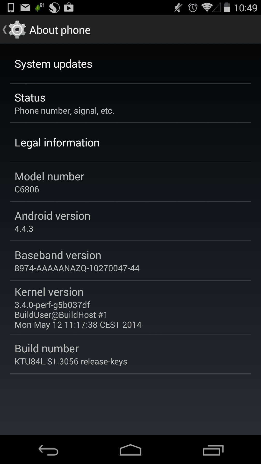 Sony Z Ultra Android 4.4.3 KTU84L.S1.3056