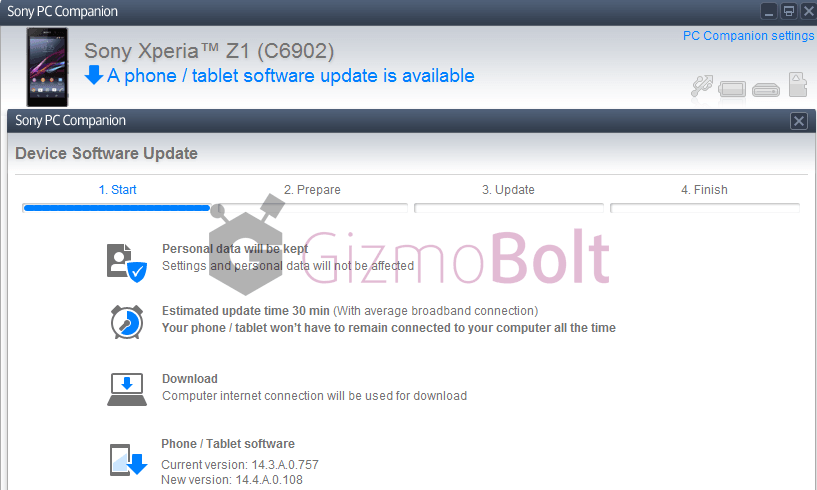 Xperia Z1 14.4.A.0.108  PC Companion