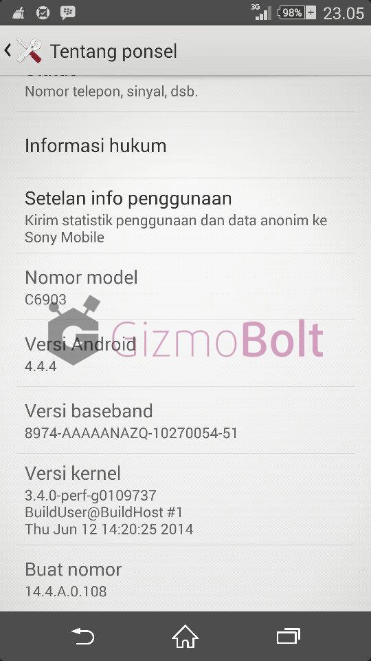Xperia Z1 14.4.A.0.108 firmware update