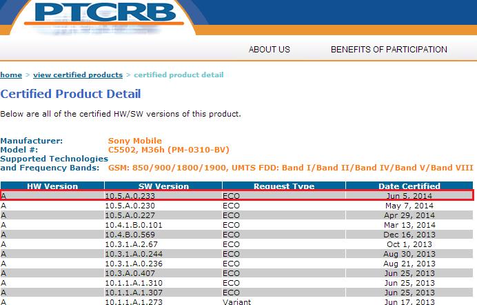 Xperia ZR 10.5.A.0.233 firmware