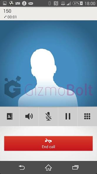 Xperia Z2 new Call app UI blue Color