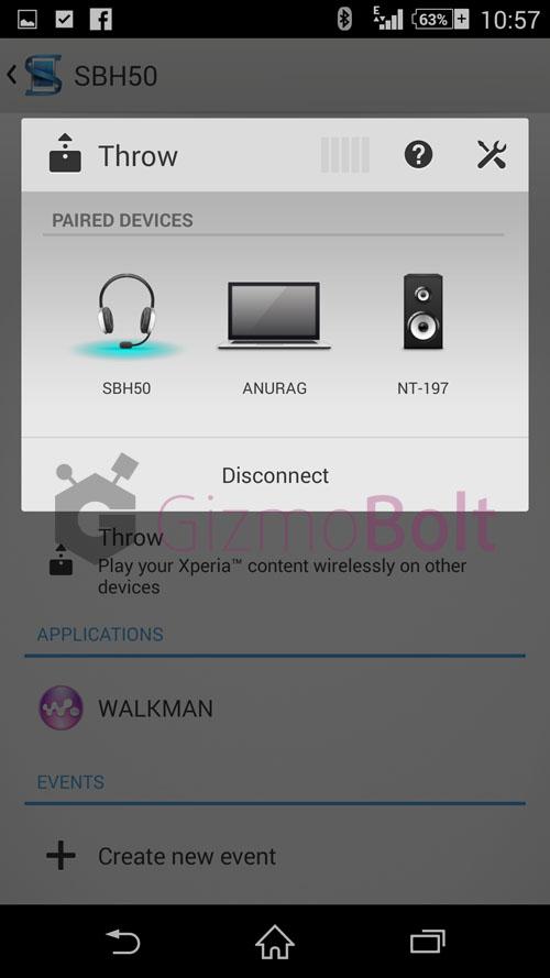 Sony SBH50 Throw option