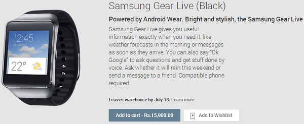 Buy Samsung Gear Live in India