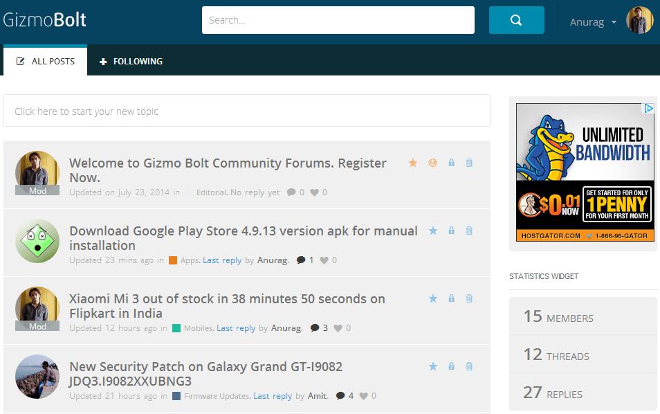 Gizmo Bolt Community Forums